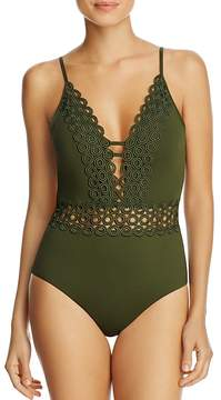 Becca by Rebecca Virtue Siren Crocheted Trim One Piece Swimsuit