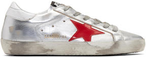 Golden Goose Deluxe Brand Silver and Red Superstar Sneakers