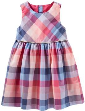 Osh Kosh Toddler Girl Button-Back Plaid Dress
