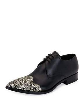Alexander McQueen Embellished Wing-Tip Pointed-Toe Oxford, Black