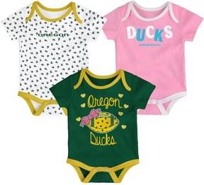 NCAA Baby Oregon Ducks Heart Fan 3-Pack Bodysuit Set