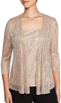 Alex Evenings Metallic Knit Twinset