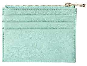 Aspinal of London Zip Top Coin Card Case In Peppermint Kaviar Mint Suede
