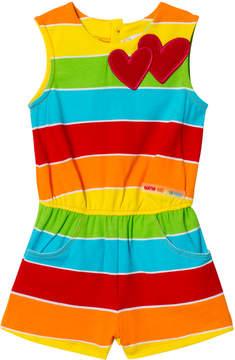 Agatha Ruiz De La Prada Multi Coloured Hearts Striped Playsuit