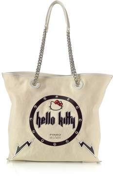 Pinko Hello Kitty Rock White Canvas Shopping Bag