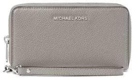 MICHAEL Michael Kors Leather Zip-Around Wristlet - PEARL GREY - STYLE