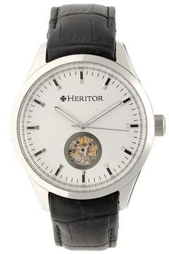 Heritor Crew Silver Dial Black Leather Strap Automatic Men's Watch