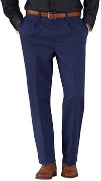 Charles Tyrwhitt Marine Blue Classic Fit Single Pleat Non-Iron Cotton Chino Pants Size W32 L30