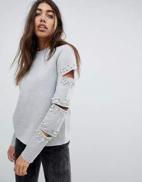 Noisy May Embellished Split Sleeve Sweatshirt