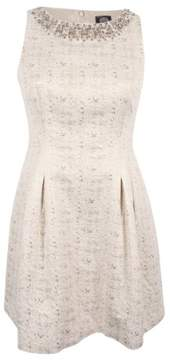 Vince Camuto Women's Jacquard Embellished Fit & Flare Dress