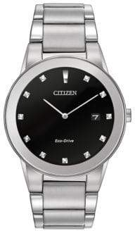 Citizen Mens Axiom Eco-Drive Diamond Stainless Steel Bracelet Watch