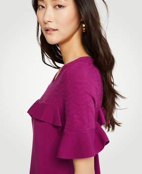 Ann Taylor Chevron Ruffle Sweater Dress