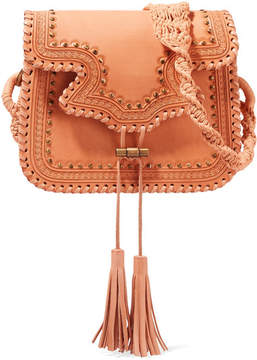 Ulla Johnson Esti Macramé-trimmed Studded Leather Shoulder Bag - Sand