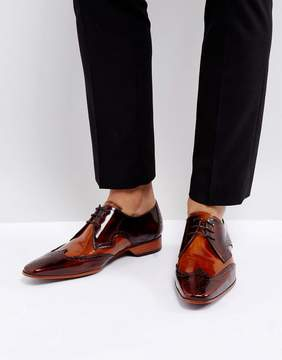 Jeffery West Escobar Brogue Leather Shoes In Brown
