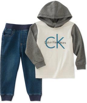 Calvin Klein 2-Pc. Hoodie & Jeans Set, Baby Boys (0-24 months)
