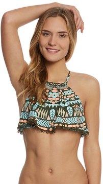 Bikini Lab Swimwear Folk Up The Sun High Neck Ruffle Bikini Top 8153517