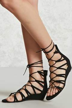 Forever 21 Lace-Up Wedge Sandals