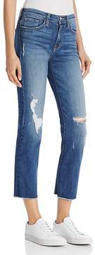 Flying Monkey Distressed Straight-Leg Jeans in Medium Blue