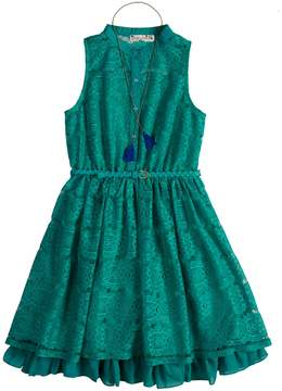Knitworks Girls 7-16 Lace Belted Shirt Dress with Necklace