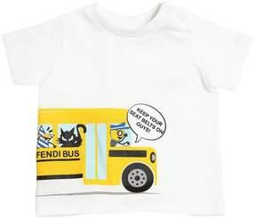 Fendi Bus Printed Cotton Jersey T-Shirt