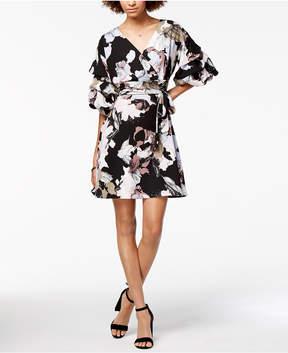 Bar III Bubble-Sleeve Wrap Dress, Created for Macy's