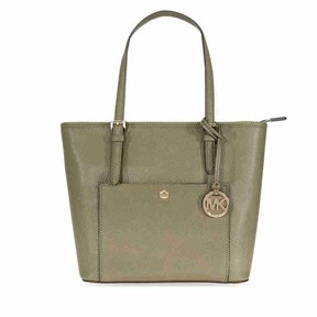 Michael Kors Women's Medium Jet Set Saffiano Leather Zip Top Tote Top-Handle Bag - Olive - OLIVE - STYLE