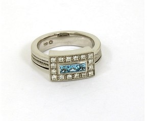 Charriol Philippe 18K White Gold Diamonds & Blue Topaz Band Ring