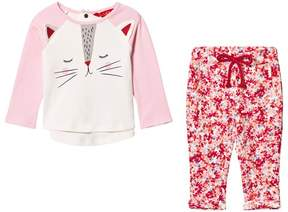 Joules Pink Cat Face T-Shirt and Floral Leggings Set