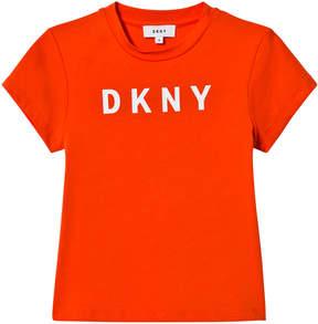 DKNY Orange Branded Printed T-Shirt
