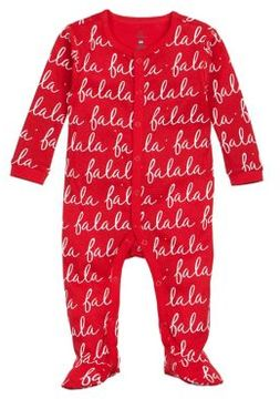 Petit Lem Baby Girl's Fa La La La Cotton Footie