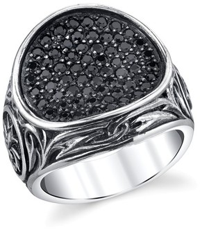Scott Kay 925 Sterling Silver & Black Sapphire Engraved Cross Ring