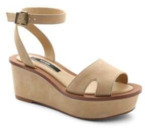 Kensie Leather Wedge Platform Sandals