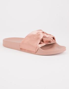 Soda Sunglasses Satin Knot Womens Slide Sandals