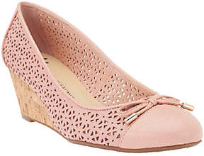 Isaac Mizrahi Live! Perforated Leather CorkWedges