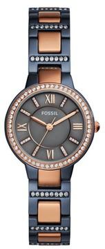 Fossil Women's Virginia Crystal Bracelet Watch, 30Mm