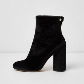 River Island Womens Black faux suede block heel ankle boots