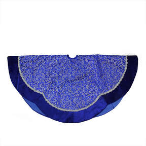 Asstd National Brand 48 Blue & Silver Glitter Filigree Swirl Scallop Christmas Tree Skirt with Decorative Metallic Trim