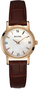 Bulova Women's Diamond Accent Brown Leather Strap Watch 27mm 97P105