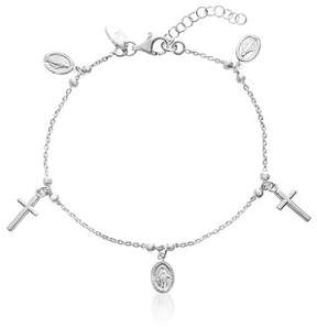 Bliss Oval Discs and Cross Charm Bracelet in Sterling Silver