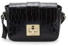 Mario Valentino Yasmin Croc-Embossed Leather Shoulder Bag