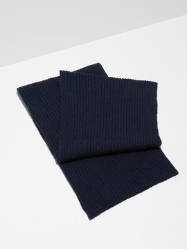 Frank and Oak Cotton-Bouclé Knitted Scarf in Dark Sapphire