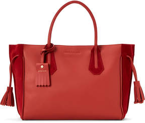 Longchamp Red Penelope Medium Suede Tote