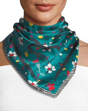 Marc Jacobs Painted Flower & Heart Square Silk Scarf