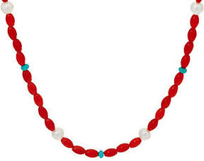American West Cultured Pearl Turquoise CoralBead Necklace