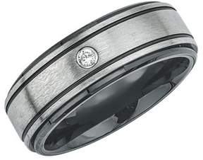 Armani Exchange Jewelry Mens Diamond Accent Wedding Band In Ceramic And Stainless Steel (0.04 Carats).