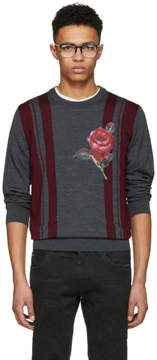 Dolce & Gabbana Grey Combined Color Knit Sweater