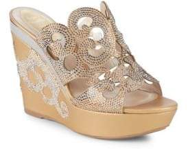 Rene Caovilla Cut-Out Embellished Wedge Sandals