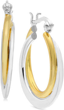Essentials Two-Tone Polished Double Hoop Earrings in Gold- and Silver-Plate