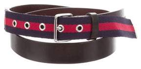 DSQUARED2 Striped Leather Belt w/ Tags