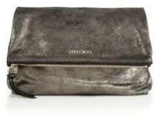 Jimmy Choo Shimmer Suede Fold-Over Clutch